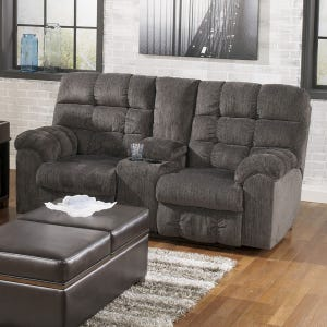 Ashley Acieona Gray Reclining Loveseat with Storage Console