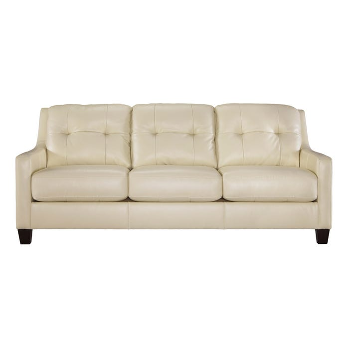 Ashley O\'Kean Cream Leather Sofa | Weekends Only Furniture
