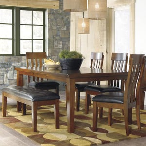 Ralene 6 Piece Brown Rustic Dining Set with Bench