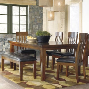 Ashley Ralene 6 Piece Rustic Dining Set with Bench