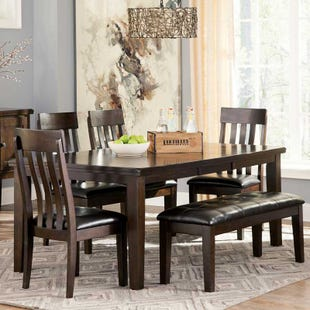Ashley Haddigan 6 Piece Contemporary Dining Set with Bench