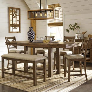 Ashley Moriville 6 Piece Rustic Counter Height Dining Set