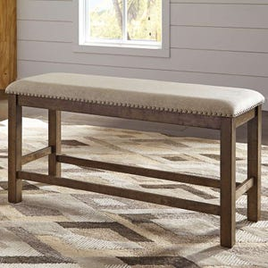 Ashley Moriville Double Upholstered Rustic Bench