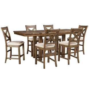 Ashley Moriville 7 Piece Counter Height Rustic Dining Set