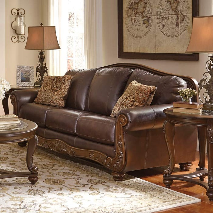 Ashley Mellwood Leather Sofa with Wood Trim