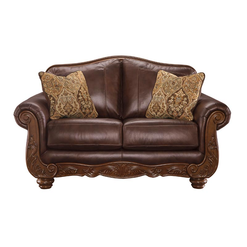 Ashley Mellwood Leather Loveseat With Wood Trim | Weekends Only Furniture