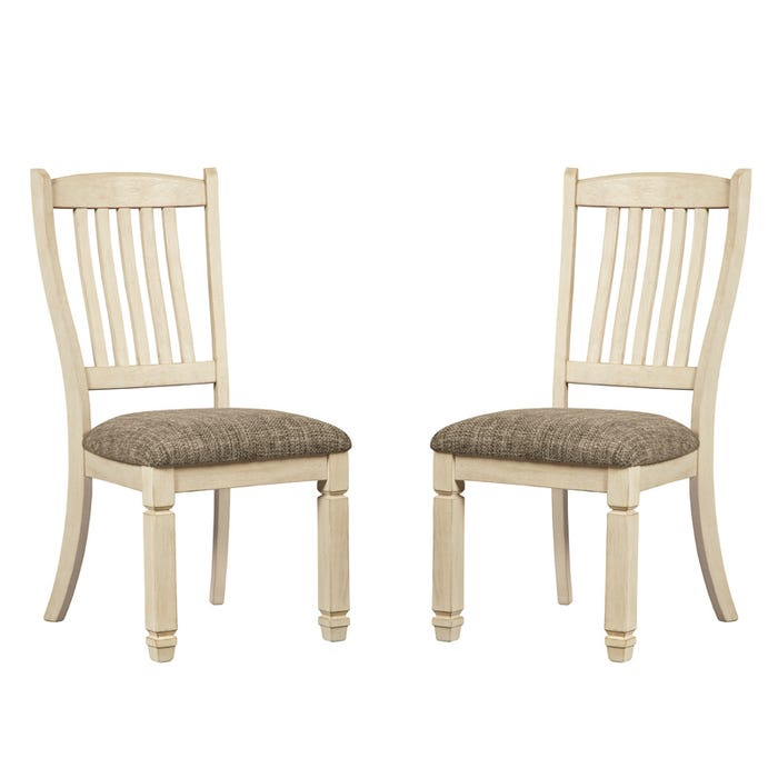 Ashley Bolanburg White Farmhouse Set Of 2 Dining Chairs Weekends Only Furniture