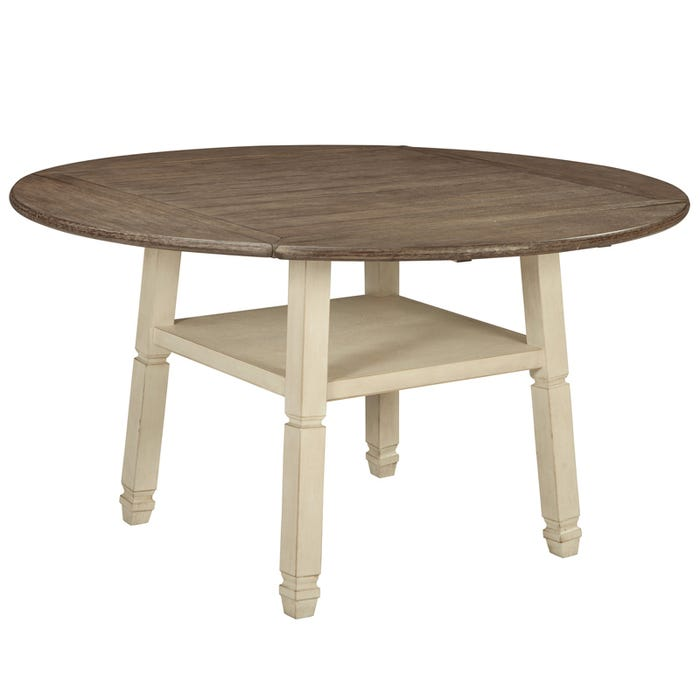Bolanburg White Round Farmhouse Drop Leaf Table Weekends Only Furniture