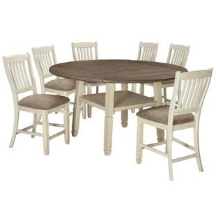 Bolanburg 7 Piece White Round Drop Leaf Dining Set