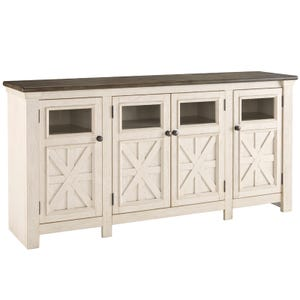 "Ashley Bolanburg White/Brown 74"" TV Stand"