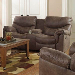 Alzena Brown Reclining Loveseat with Storage Console