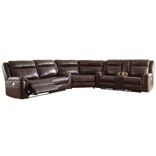 Wyline Brown Dual Power Leather Reclining Sectional