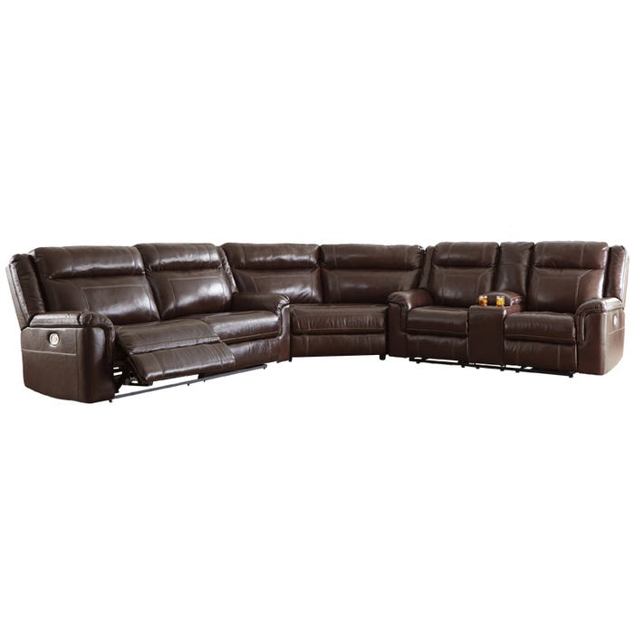 Fantastic Ashley Wyline Top Grain Leather Reclining Sectional Head Spiritservingveterans Wood Chair Design Ideas Spiritservingveteransorg