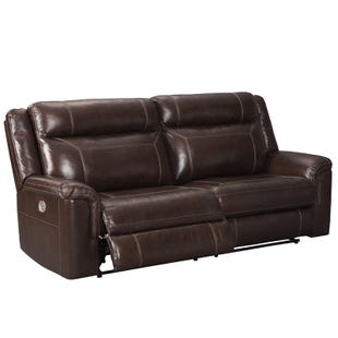 Wyline Brown Dual Power Leather Reclining Sofa