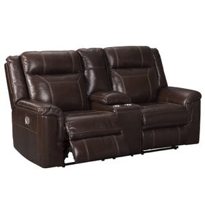 Ashley Wyline Top Grain Leather Power Reclining Console Love