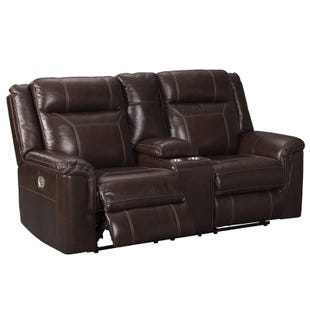 Wyline Brown Dual Power Leather Reclining Console Loveseat