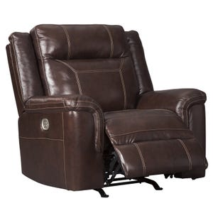 Ashley Wyline Top Grain Leather Power Recliner and Headrest