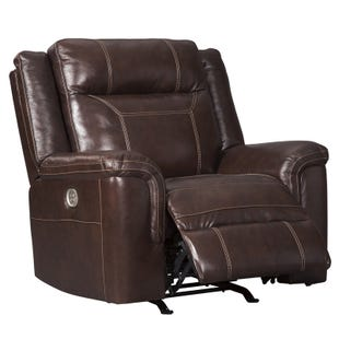 Fabulous Livorno Grey Top Grain Leather Power Recliner And Headrest Pabps2019 Chair Design Images Pabps2019Com