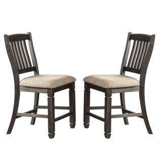 Tyler Creek Black Upholstered Set of 2 Counter Height Stools