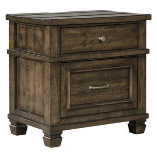 Ashley Darloni Weathered Gray/Brown 2 Drawer Nightstand