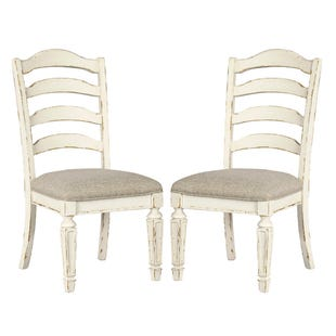 Lynnea White Antique Two-Tone Upholstered Side Chairs