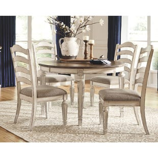 Lynnea White Antique Two-Tone Distressed 5 Piece Dining Set