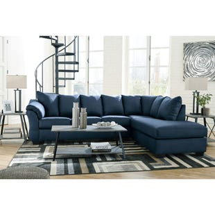 Drake Navy Microfiber Sectional