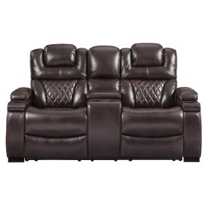 Ashley Warnerton Chocolate Dual Power Reclining Loveseat