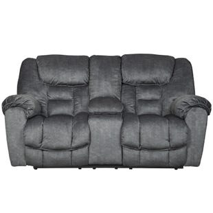 Capehorn Reclining Console Loveseat Gray