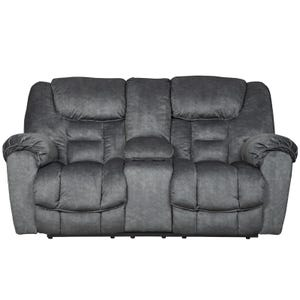 Ashley Capehorn Granite Reclining Console Loveseat