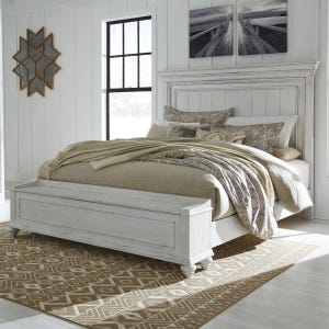 Kennedy Distressed Whitewashed Queen Panel Bed