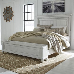 Ashley Kennedy Distressed Whitewashed Queen Panel Bed