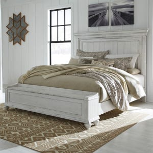 Kennedy Distressed Whitewashed King Panel Bed