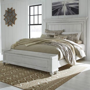 Ashley Kennedy Distressed Whitewashed King Panel Bed