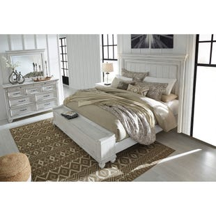Kennedy Distressed Whitewashed King 3 Piece Bedroom Set
