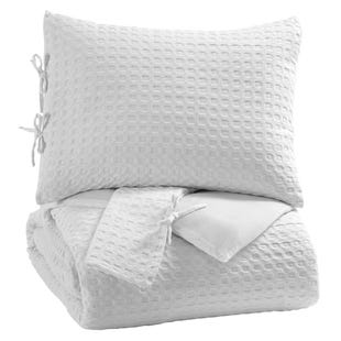 White Cotton 3 Piece Queen Comforter Set