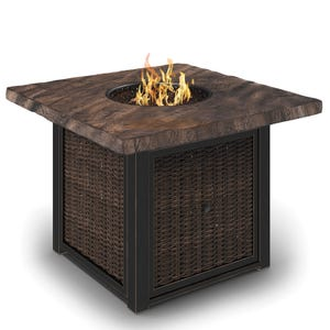 Ashley Alta Grande Aluminum Square Propane Gas Firepit Table