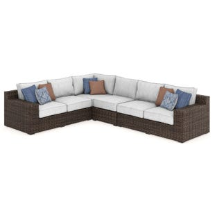 Alta Grande Cream Twill All Weather Wicker Sectional