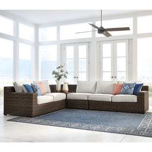 Alta Grande Cream All Weather Wicker Sectional W/ Table