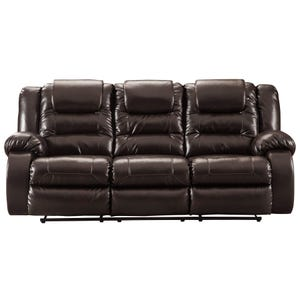 Ashley Vacherie Chocolate Faux Leather Reclining Sofa