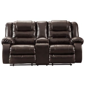 Ashley Vacherie Faux Leather Chocolate Reclining Loveseat