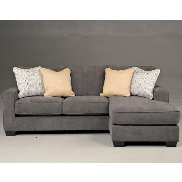 Ashley Hodan Charcoal Gray Microfiber Sofa Chaise