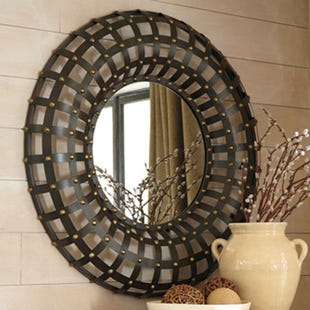Ashley Bronze Metal Gridwork Nailhead Detail Mirror