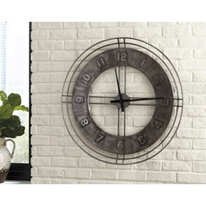 Ashley Antique Gray Metal Clock