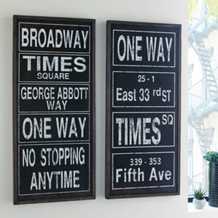 Ashley New York Set of 2 Wood Wall Panel Signs