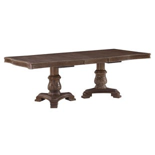Ashley charmed Dark Oak White Double Pedestal Table