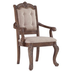 Charmed Dark Oak Set of 2 Upholstered Arm Chairs