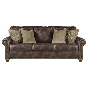 Nico Faux Leather Brown Sofa