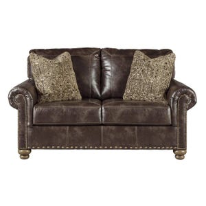 Ashley Nico Coffee Faux Leather Loveseat