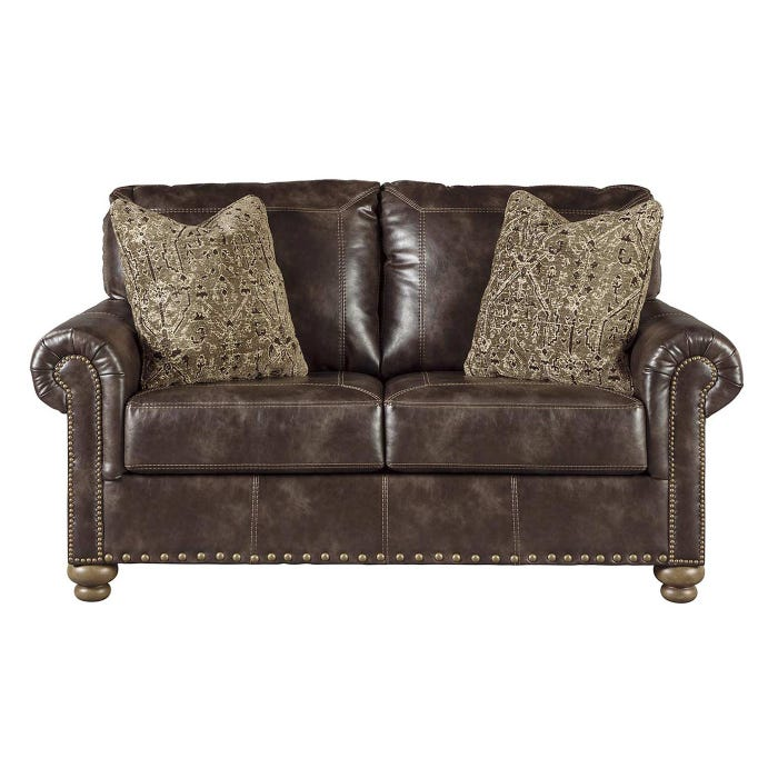 Nico Brown Faux Leather Loveseat, Faux Leather Loveseat Sofa Bed